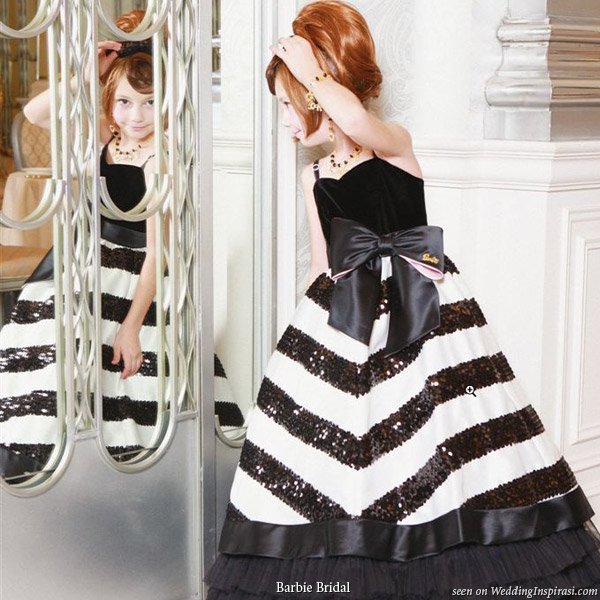 Barbie Bridal flower girl collection 2009 - black and white stripe sequin dress