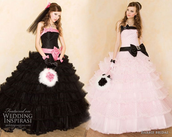 Black, pink with bows wedding dress or  quinceanera  gown from Barbie Bridal