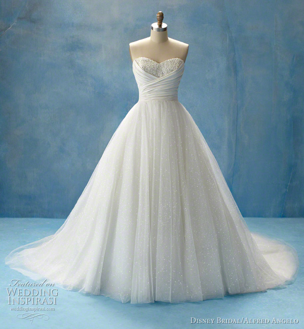 Princess Jasmine wedding dress featuring flowing soft shimmer satin and a