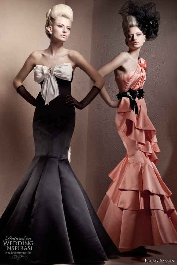 Elihav Sasson haute couture gowns - strapless ruffle evening dress