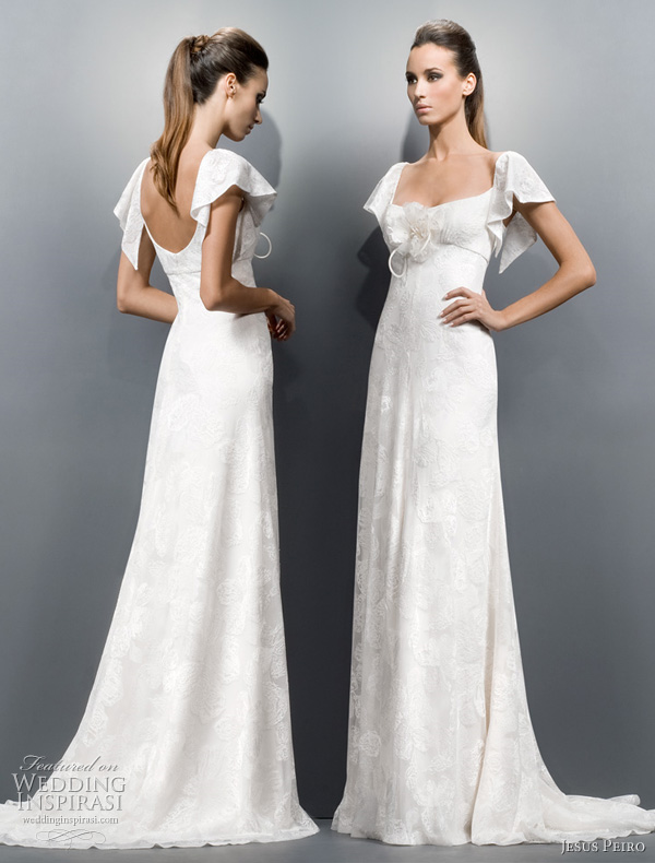 Wedding dress with butterfly sleeves jesus peiro wedding dress Strapless