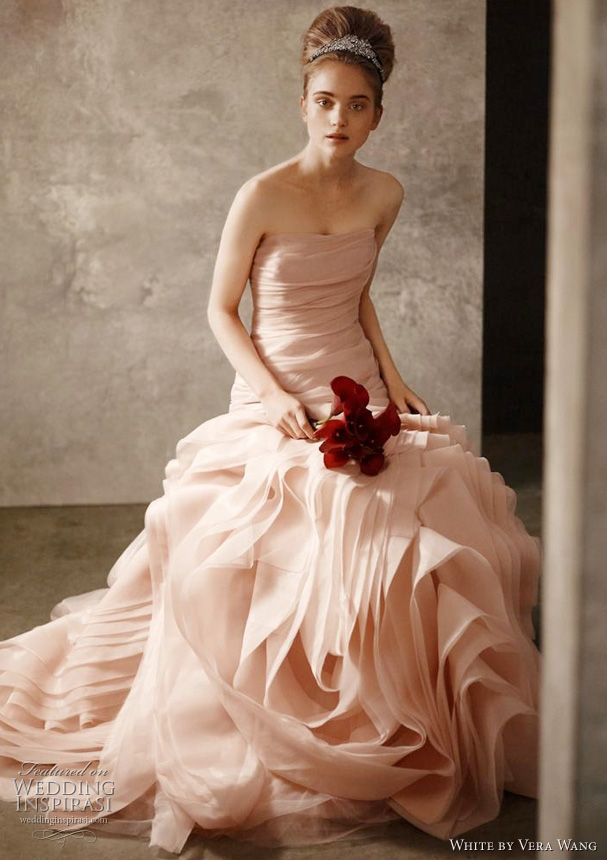 white by vera wang wedding dress blush pink Organza Fit and Flare Gown