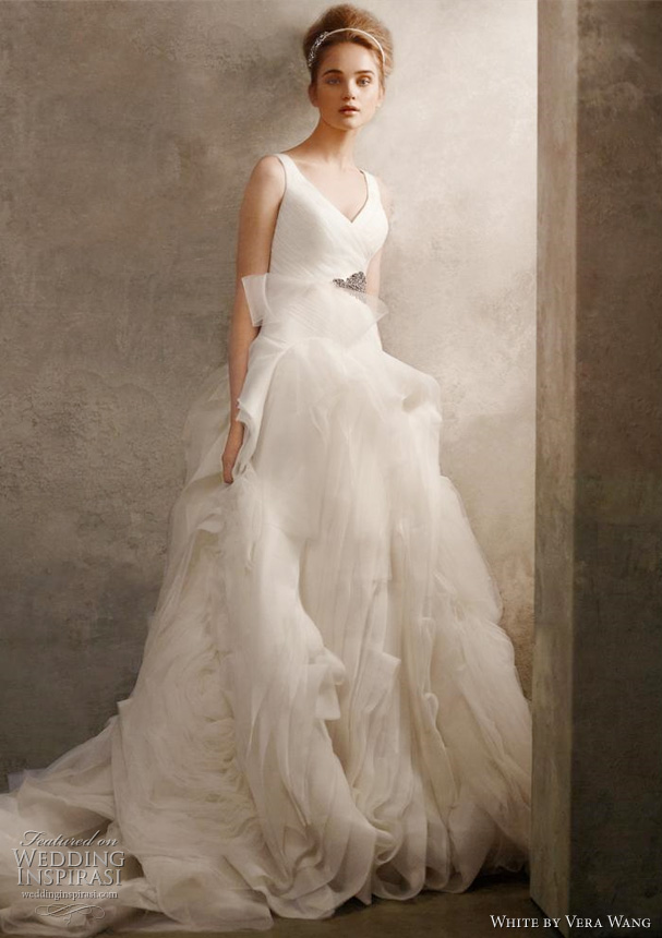 white by vera wang wedding dresses spring 2011 V Neck Ball Gown with Fully
