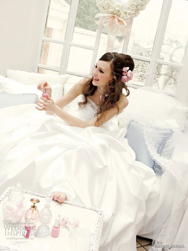 Manicured perfection - sweet wedding photo shoot with white ball gown for Barbie Bridal