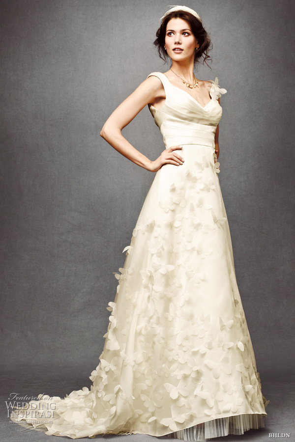 bhldn wedding dress 2011 - ethereal monarch gown with organza with appliqued butterflies
