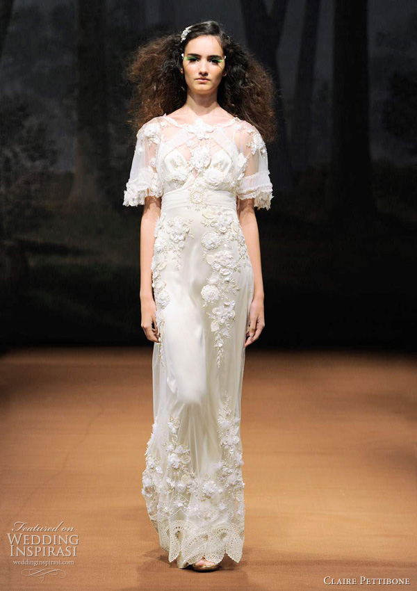 claire pettibone bridal 2011 - Sparrow wedding dress platinum handkerchief sleeves with beaded flowers and leaves.