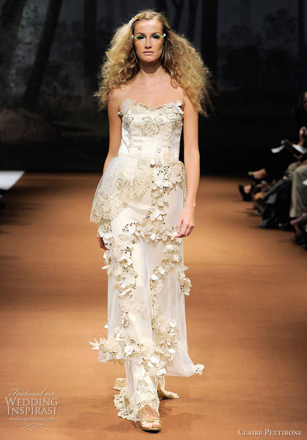 claire pettibone spring 2011 wedding dresses - FAUNA Strapless champagne and olive scalloped embroidery with jeweled flowers and detachable peplum/capelet.