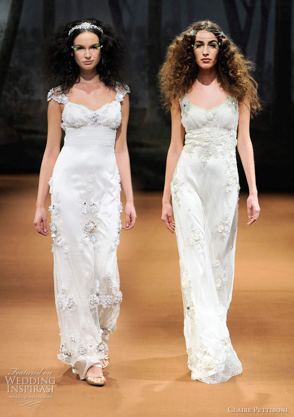 claire pettibone spring 2011 -  MISTI Silver leather and beaded flowers embroidered on tulle with sheer embellished back, CRESCENT Sweetheart neckline with tulle crescent draping encrusted with crystals and beads.
