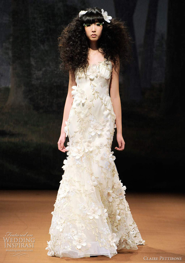 claire pettibone wedding dress - FLORA fold vines and ivory flowers scattered over tulle and silk with an open back.