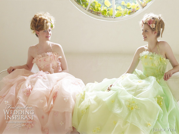 Pretty pale pink and light green gowns with halter straps and appliqued