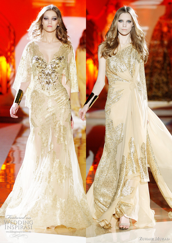 these gowns with shiny metallic lace finish look like they have gold