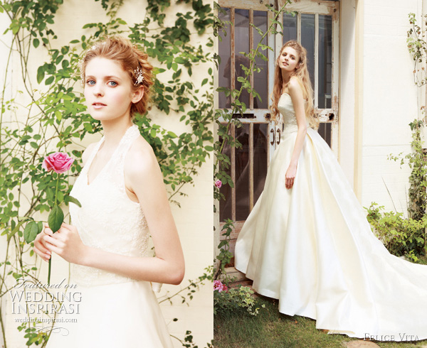 Romantic white and color wedding dresses from Japanese brand Felice Vita