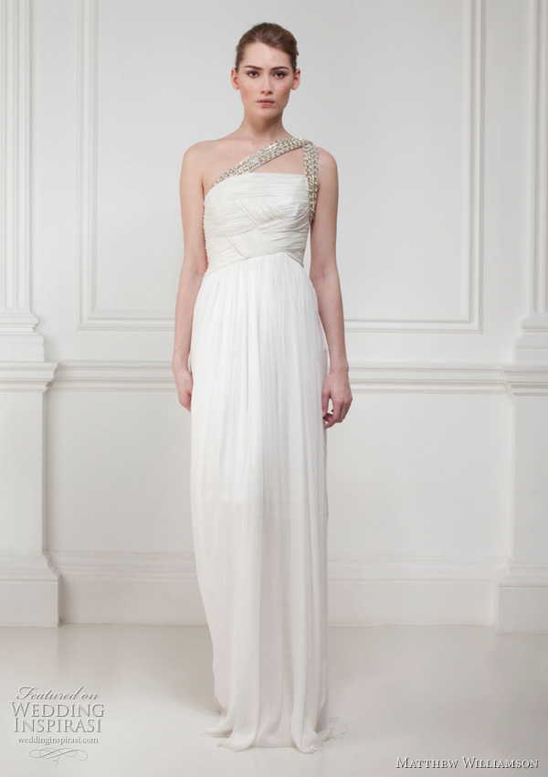 Grecian style chiffon gown with soft pleating at bodice and Swarovski