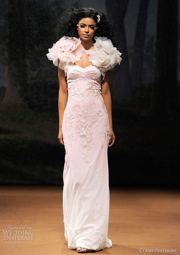 ombre wedding dress claire pettibone - DEW DROP Pale pink ombre embroidered bubble skirt with dew-drop covered rose