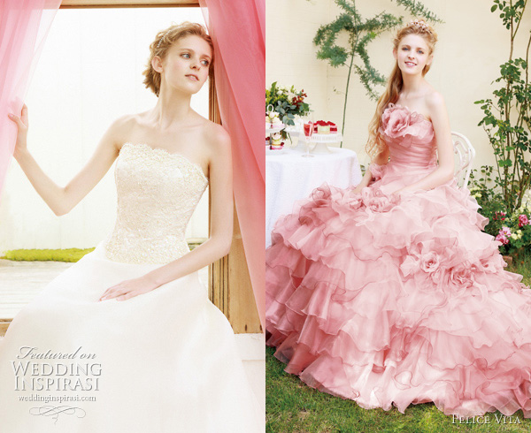 pink wedding dresses japan