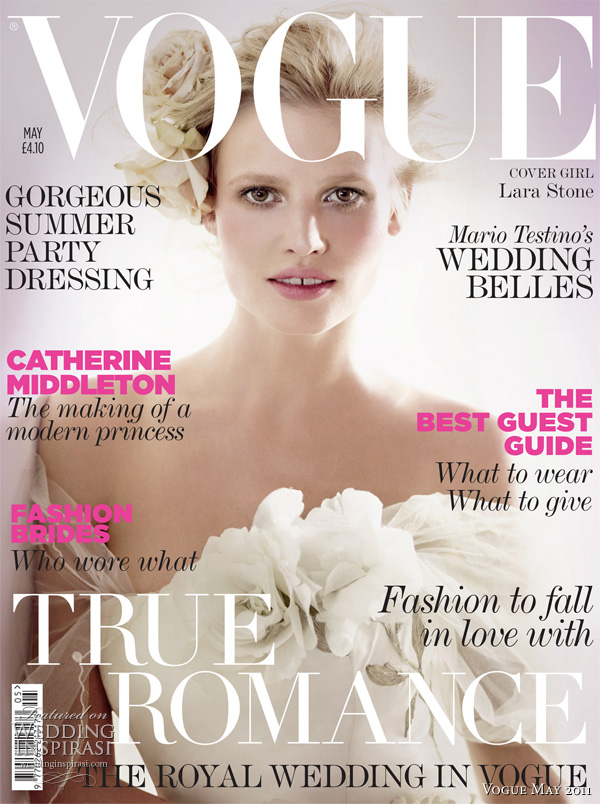 Lara Stone wearing Bruce Oldfield wedding dress on cover of Vogue May 2011 - Special Collector's Wedding Issue (includes feature on the Royal Wedding), shot by Mario Testino