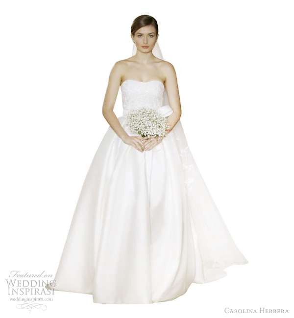 carolina herrera 2012 wedding dresses - Andreea off white ribbon embroidered chantilly lace and silk mikado overlay gown