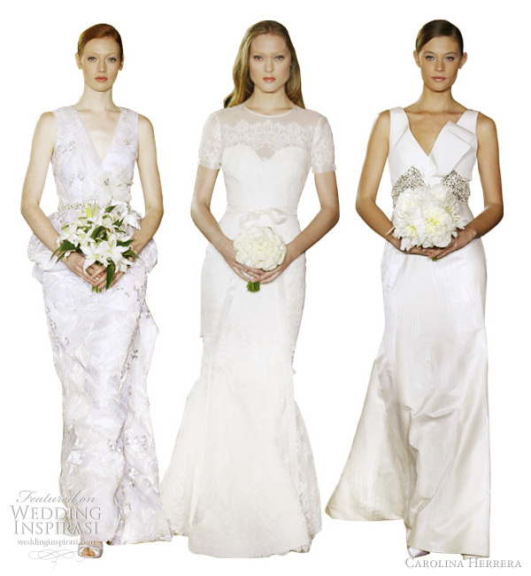 carolina herrera bridal 2012 collection - Chantal white porcelain and champagne cord embroidery gown and lily belt, Erin chantilly lace gown, Barbara ivory brush stroke cotton silk jacquard v-neck gown with antique silver crystal embroidery