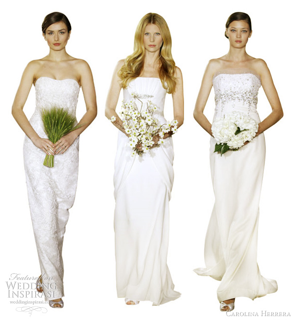 Carolina Herrera bridal 2012 strapless wedding dresses - Andreea off white ribbon embroidered Chantilly lace strapless gown, Audi silk Georgette draped strapless gown with antique silver art deco brooches, Diana antique silver embroidered silk and wool organdy handkerchief strapless gown
