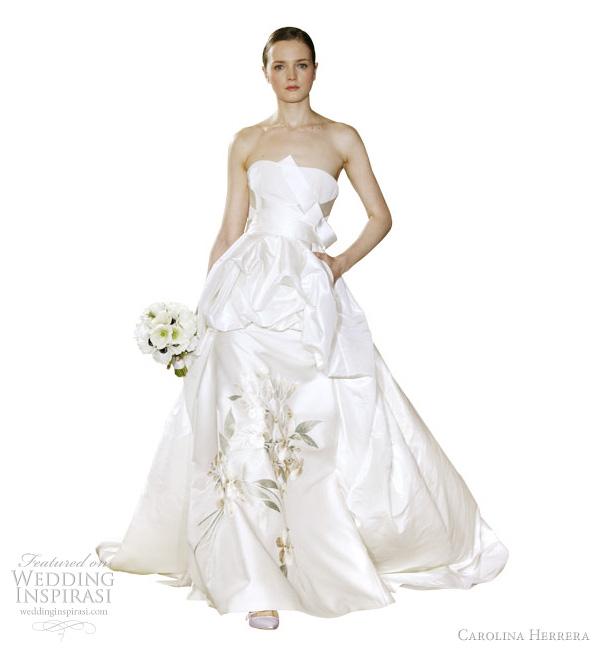 carolina herrera bridal spring 2012 - Angelika off white silk mikado and taffeta floral embroidered strapless wedding dress