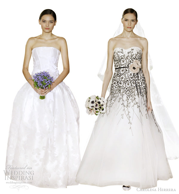 carolina herrera bridal spring 2012 - Tayane off white silk satin and organza floral mesh strapless wedding gown; Rachel black and ivory cotton embroidered lace strapless gown with anemones