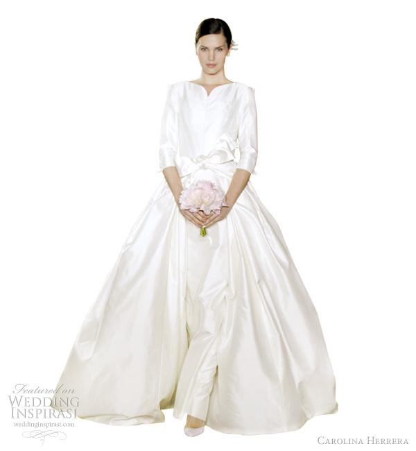 carolina herrera wedding dress 2012  - Chrissy off white duchess satin overlay wedding dress