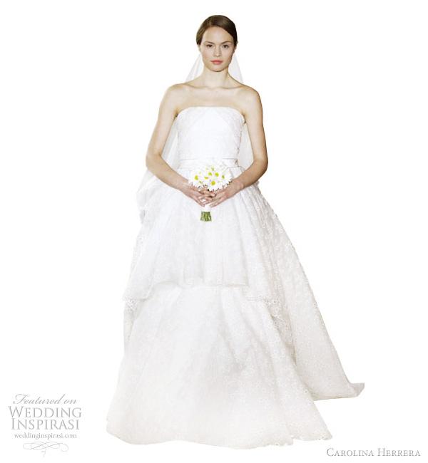 carolina herrera wedding dresses 2012 - Anastasia ivory silk organza eyelet tiered strapless gown with taffeta ribbon