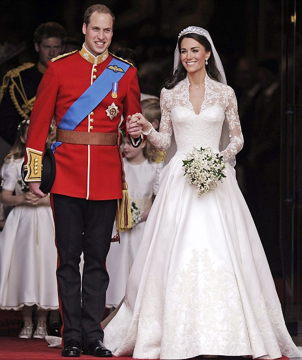 Kate Middleton wedding dress designed by Sarah Burton of Alexander McQueen