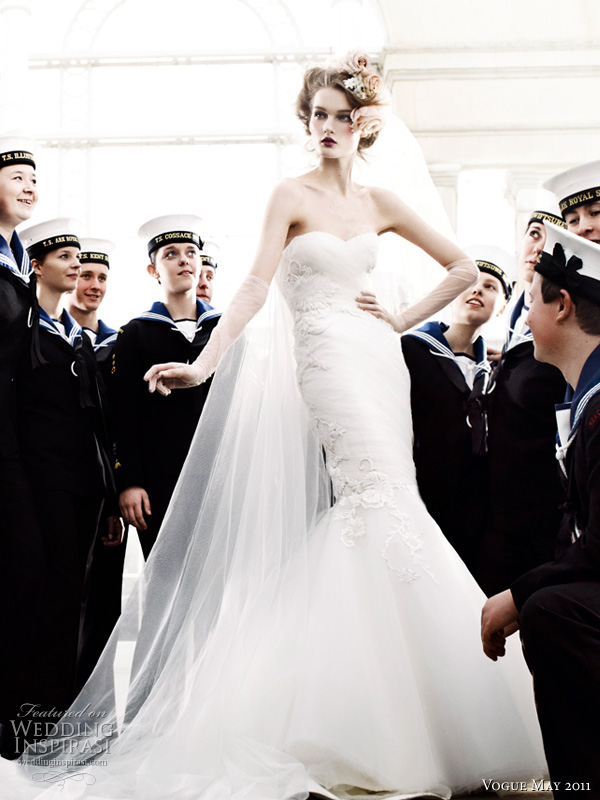 marchesa wedding dress mario testino - model Kirsi Pyrhonen in a draped tulle column dress with fishtail skirt by Marchesa, surrounded by british maritime youth sea cadets, shot by fashion photographer Mario Testino, for Vogue UK royal wedding issue May 2011