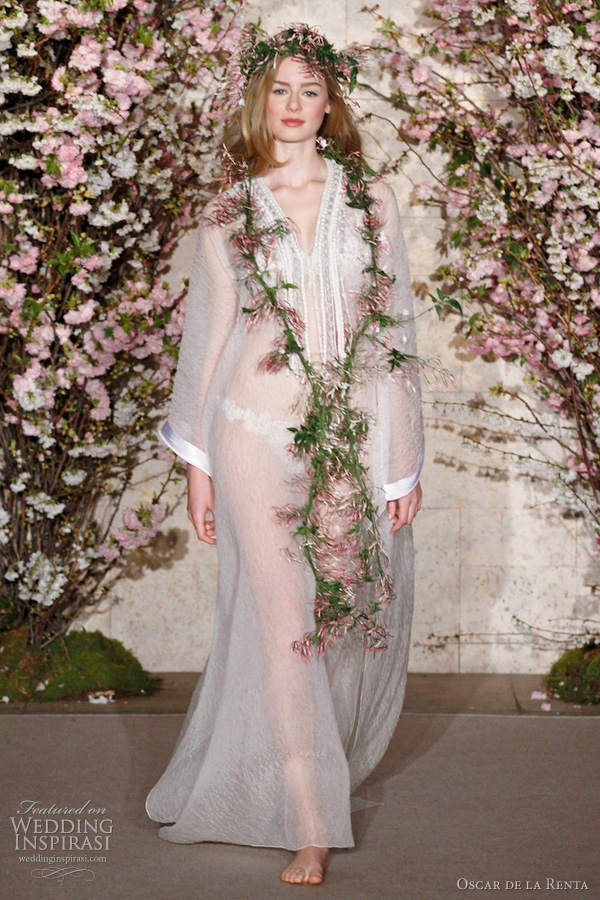 Oscar de la Renta spring/summer 2012 bridal collection hippie bohemian wedding dress kaftan : white floral cloque silk organza caftan with bouillon macrame embroidered neckline worn with floral guipure embroidered bikini.