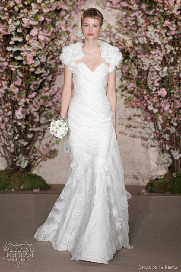 oscar de la renta 2012 bridal - fit and flare wedding dress and bolero