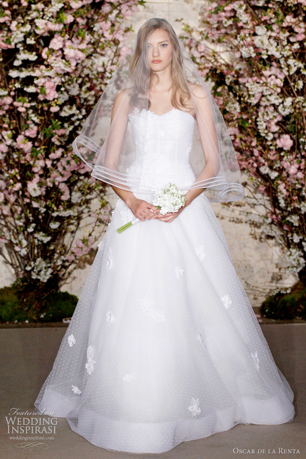 oscar de la renta bridal collection 2012 - strapless ball gown or a-line wedding dress