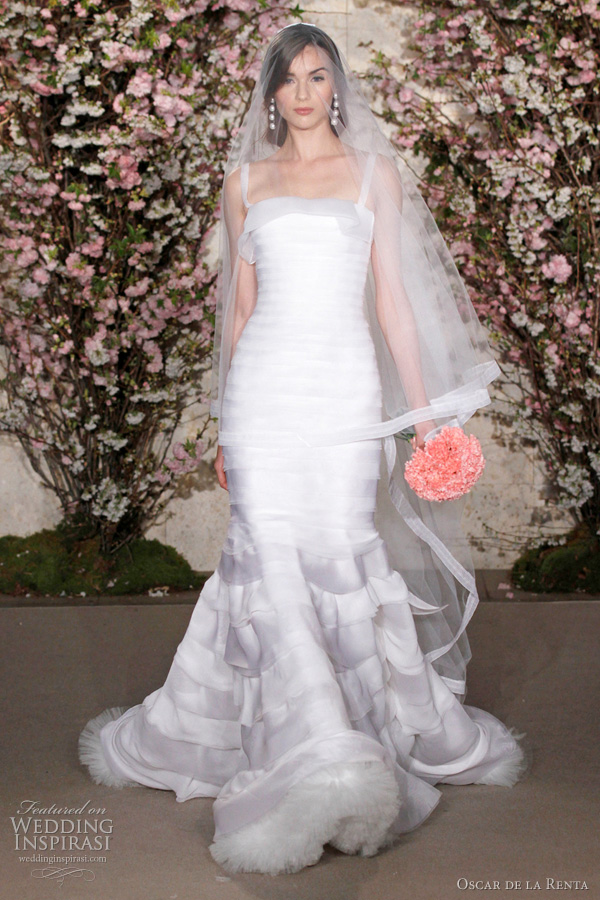 oscar de la renta bridal spring 2012 - fit and flare wedding dress