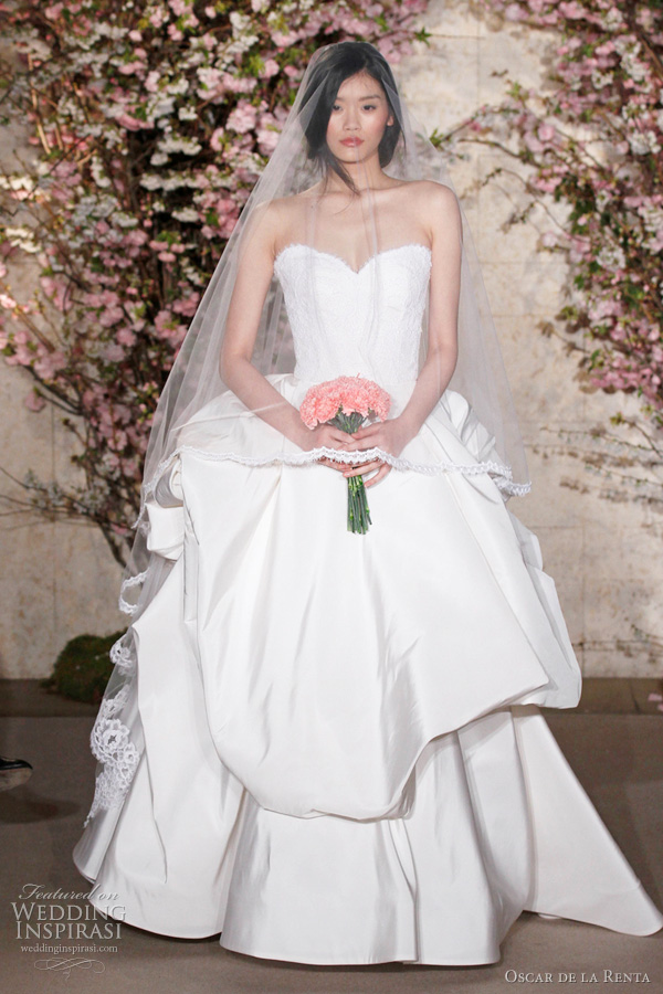 oscar de la renta spring 2012 bridal - voluminous strapless ball gown wedding dress