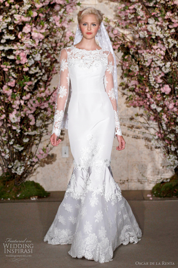 oscar de la renta wedding dresses 2012 - long sleeve bridal gown