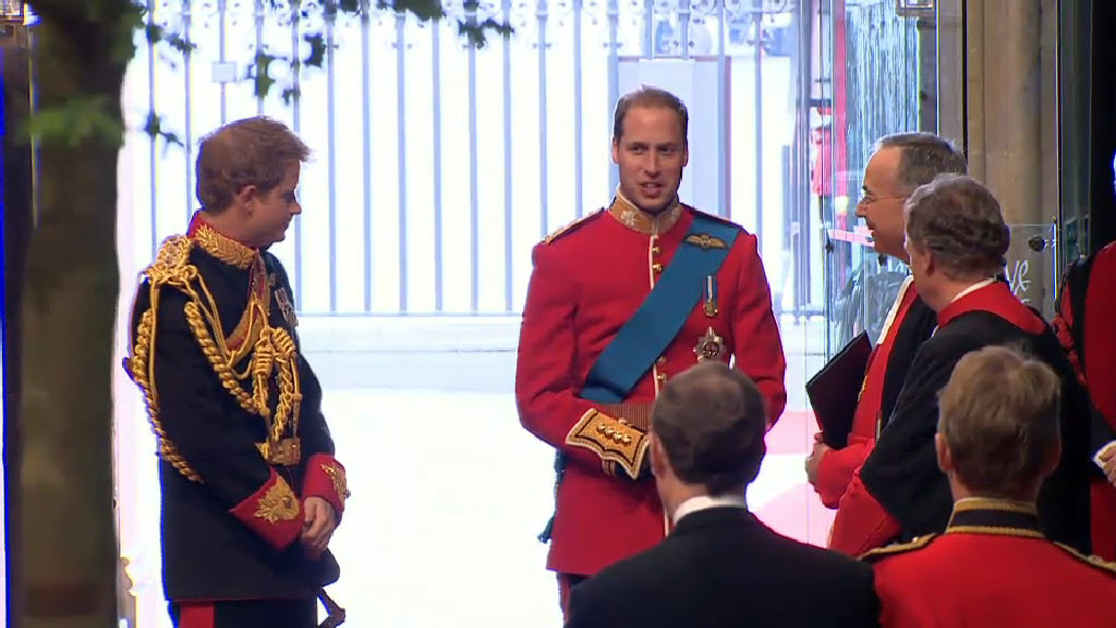 Prince William and his brother and best man Prince Harry arrive at