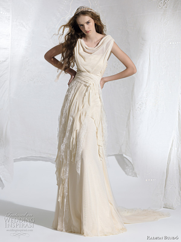 raimon bundo 2011 wedding dresses - adelfa draped bohemian bridal gown
