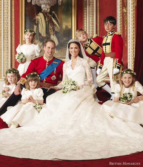 Royal Wedding 2011 - Official portrait of Prince William, the Duke of Cambridge, Catherine Middleton, the Duchess of Cambridge by photographer Hugo Burnand © British Monarchy