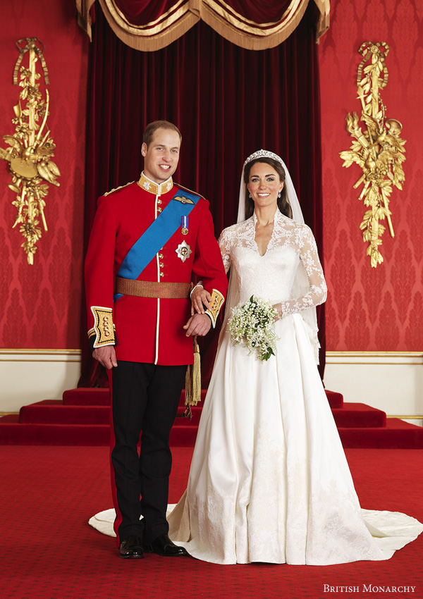 HRH Prince William and Ms Catherine Middleton - the Duke and Duchess of Cambridge.  Royal wedding 2011 official portraits by Hugo Burnand