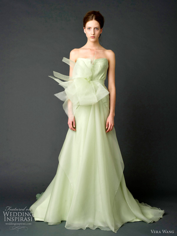 vera wang 2012 wedding dresses - Celadon strapless ballerina ballgown with layers of degrade floral laser-cut organza and trapunto-stitched bustier.