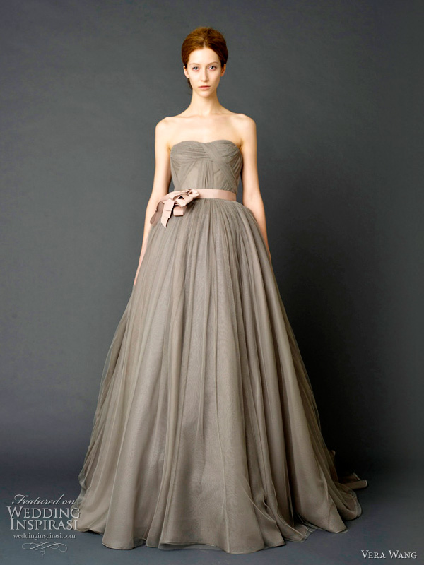 vera wang 2012 wedding gowns - Charcoal strapless sweetheart ballerina ballgown with swirling organza pleated train, watteau back and draped French tulle bodice with grosgrain multi-bow sash.
