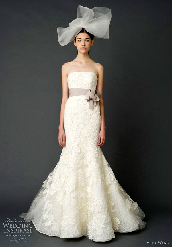 vera wang spring 2012 bridal - Strapless mermaid gown with floating multi-layered lace appliqué and sunburst petal pleated train with grosgrain multi-bow sash.