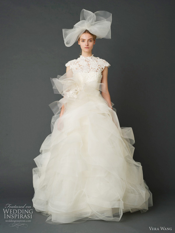 vera wang wedding dress spring 2012 - Guipure lace build-up ballgown with swirling honey comb tulle and horsehair confection skirt.