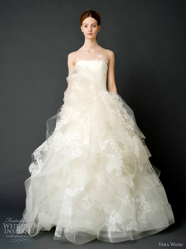 vera wang wedding dresses 2012 - Strapless tumbled tulle caged gown with floating lace and organza appliqué and horsehair and tulle corsage.