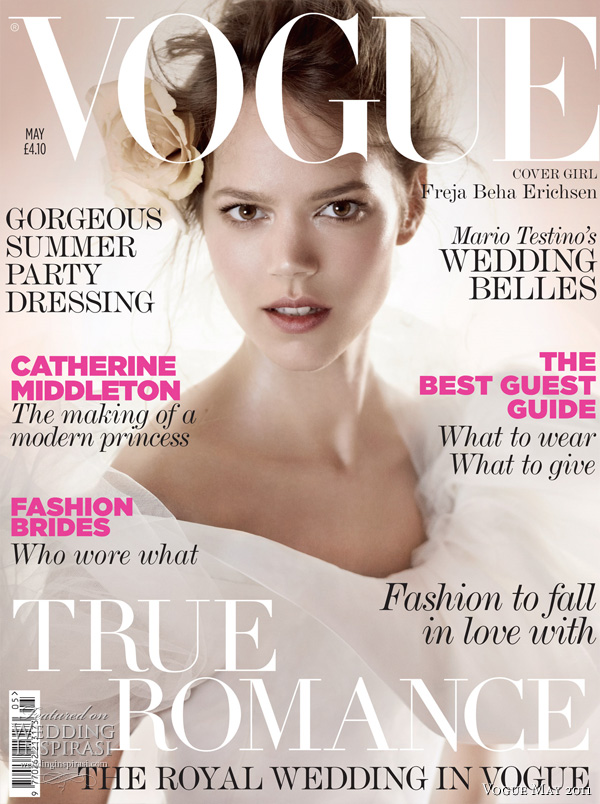 Vogue UK May 2011 - Wedding Issue (includes feature on the Royal Wedding) featuring Freja Beha Erichsen in Oscar de la Renta wedding dress (one of three Special Collectors covers), shot by Mario Testino