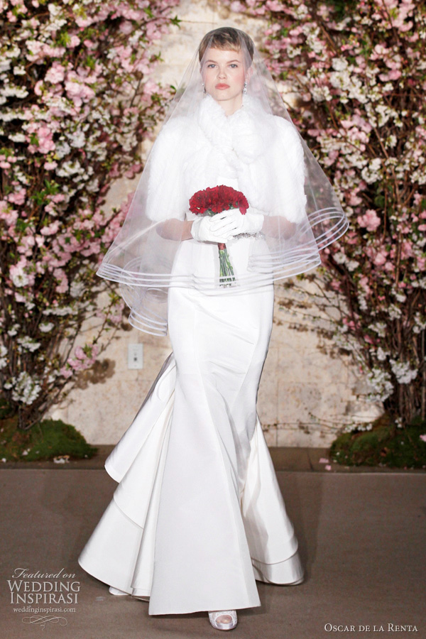 winter wedding dresses ideas, fur stole jacket - oscar de la renta spring 2012 bridal collection