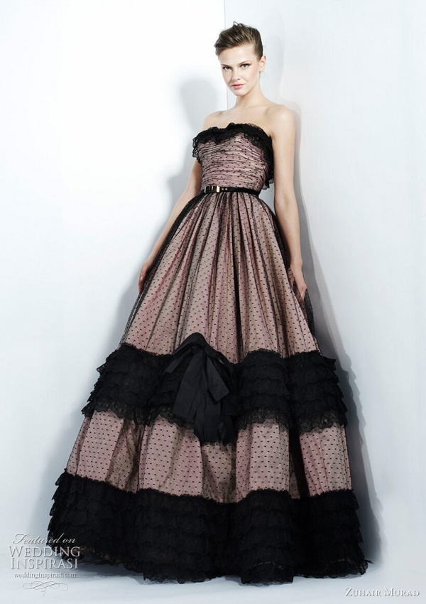 zuhair murad pink black ball gown
