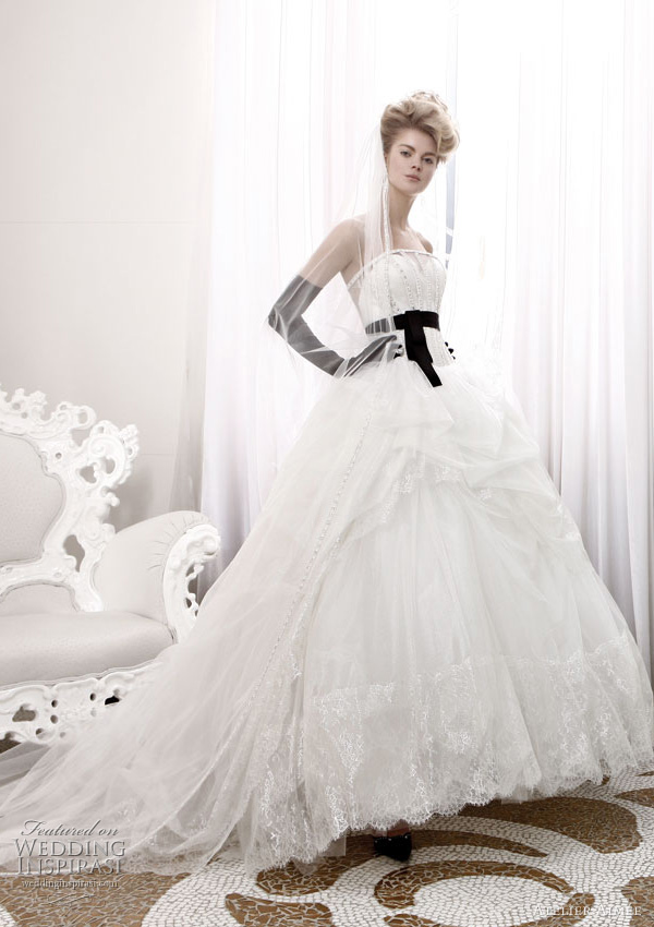atelier aimee black white wedding dress