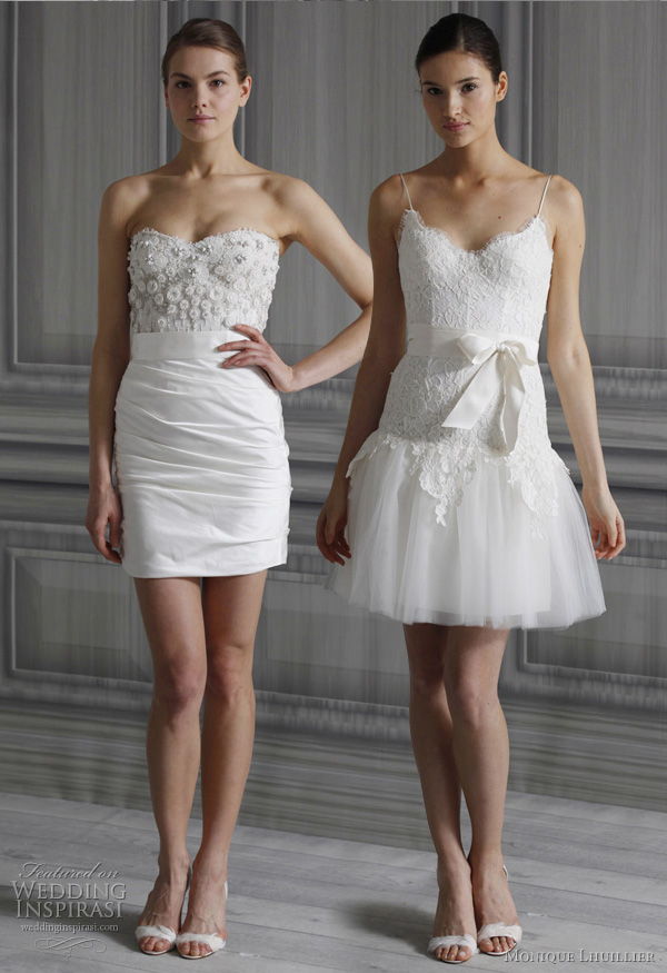 Monique lhuillier wedding dresses spring 2012 bridal for Short wedding dresses 2012