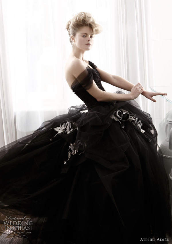 Atelier aimee wedding dresses black and white collection for Images of black wedding dresses